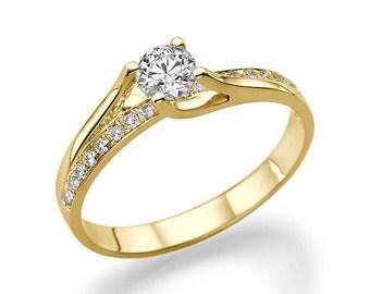 Twist Style Diamond Ring, 14K Gold Ring, Diamond Ring Vintage, 0.6 TCW Unique Diamond Engagement Ring, Art Deco Ring
