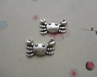 50pcs Antique silver Metal Charms-Crab charm pendant  16x23x3mm--CP605