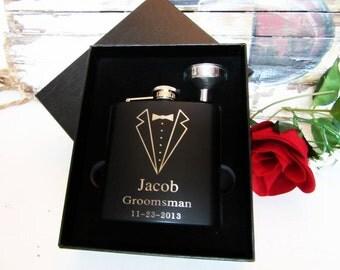Six Flasks - Personalized Flask Gift Set - Monogram Flasks - Groomsman Box Set - Inexpensive Wedding Favor - Party Favors - 6 Hip Flask Gift