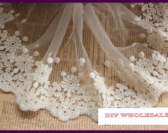 10cm wide eyelash lace,beige trimming lace,embellish for wedding dress,curtain,embroidered lace for scarpbooing, beige 2 yards