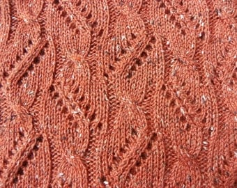 "Pattern to Knit Lace Scarf ""Between the Lace and Cables"" PDF"