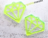 Neon Green Diamond Charms - 2 pcs, laser cut acrylic, outline, retro, bling