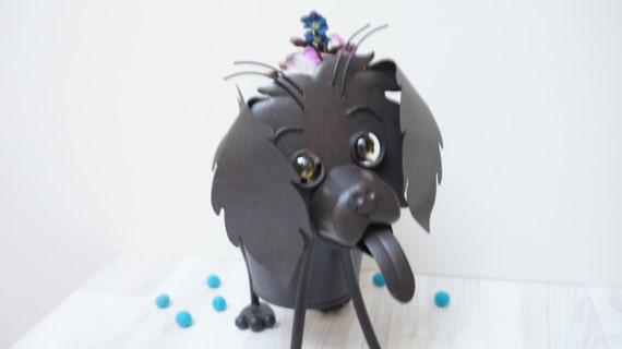 Tin Metal Dog Planter Vase Flower Bowl Cup By Livepastvintage