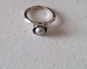 Vintage Style Sterling Silver Designer Pearl Ring