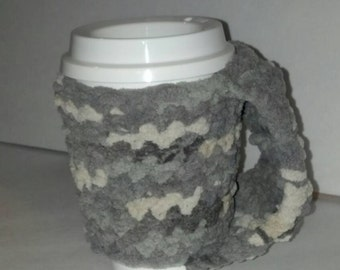 Crochet Fleece Cup Cozy, **Free Reusable Cup Included** Choice of 16 Colors