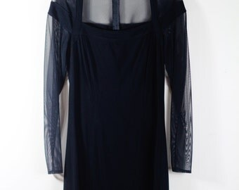 Vintage Tadashi Sheer Black Dress