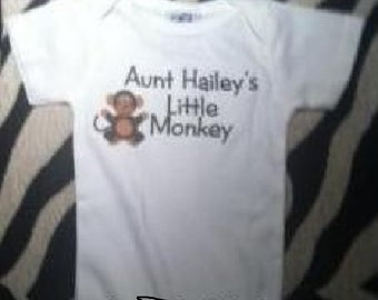 Aunt or Uncle's little monkey personalized one piece bodysuit you choose size and color boy or girl