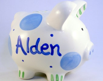 Personalized Piggy Bank - Boy Piggy Banks Personalized - Ceramic Piggy Bank - Blue Polkadot Baby Boy -  New Baby Gift - Hand Painted Ceramic