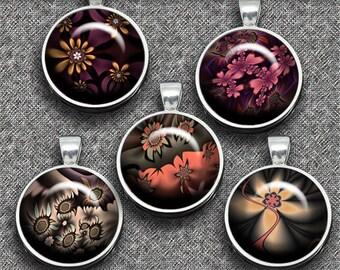 Fractal Flowers– Digital Design - Set 1 - 20 Buttons print. 300 DPI