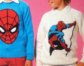 Spiderman knitting pattern sweaters for children and adults dk or 4 ply intarsia charts vintage character knitting