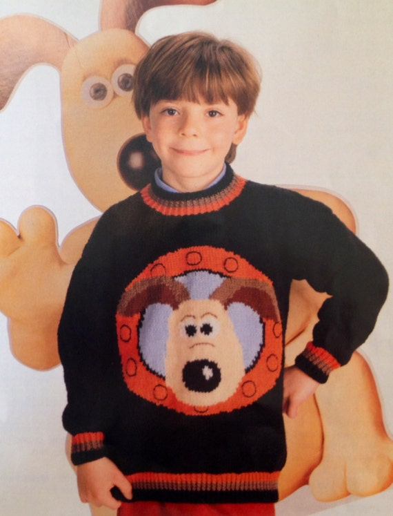 Wallace And Gromit Knitting Pattern : Items similar to wallace and gromit knitting pattern childs jumper 26-36 inch...