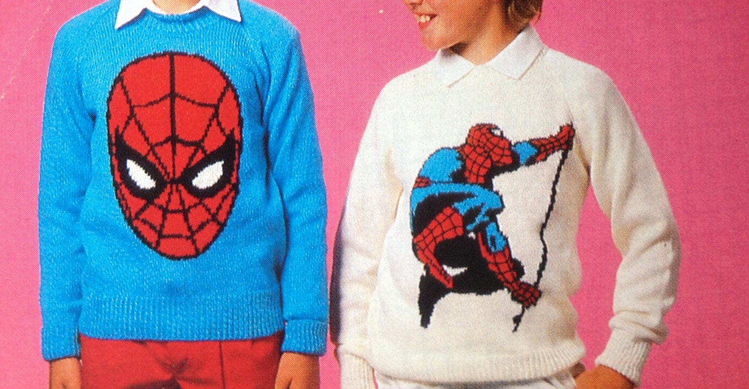 Spiderman knitting pattern sweaters for children and adults dk