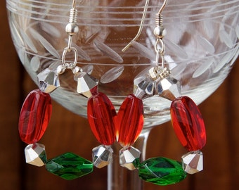 Red and Green Faceted Glass, Mirror Crystals, Silver, Wired, Handmade, Earrings, Unique, Jewelry, Chic, 10mm, 12mm, 1.75""