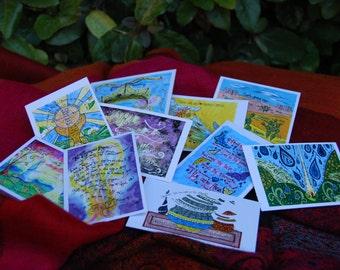 Catholic Prayer Cards, Unique, Contemporary, Gift, Stocking Stuffer, Christian art, Bright colors