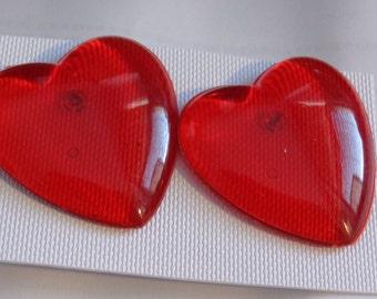 VINTAGE RED HEART Earrings 1.25 inch pierced