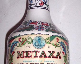 Vintage Keramikos Greek  Metaxa Ceramic  Collectible Handpainted Decanter Bottle