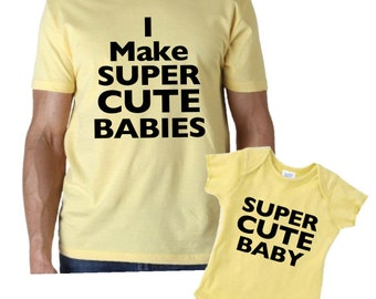 I make super cute babies dad and baby matching shirt and bodysuit or shirt set. Great gift for dad and baby