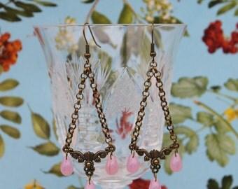 Chandelier Earrings,Czech Glass Chandelier Eaarings,Antique Bronze Chandeler Earrings,Czec Glass Teardrops Chandelier Earrings
