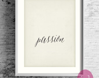 "Typography Poster Motivational Print ""Passion"" Inspirational Art Large Wall Poster-Love Art Print Gift-Home Decor Gift Idea"