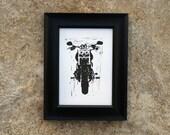 Motorcycle Cruiser 5x7 black on white print