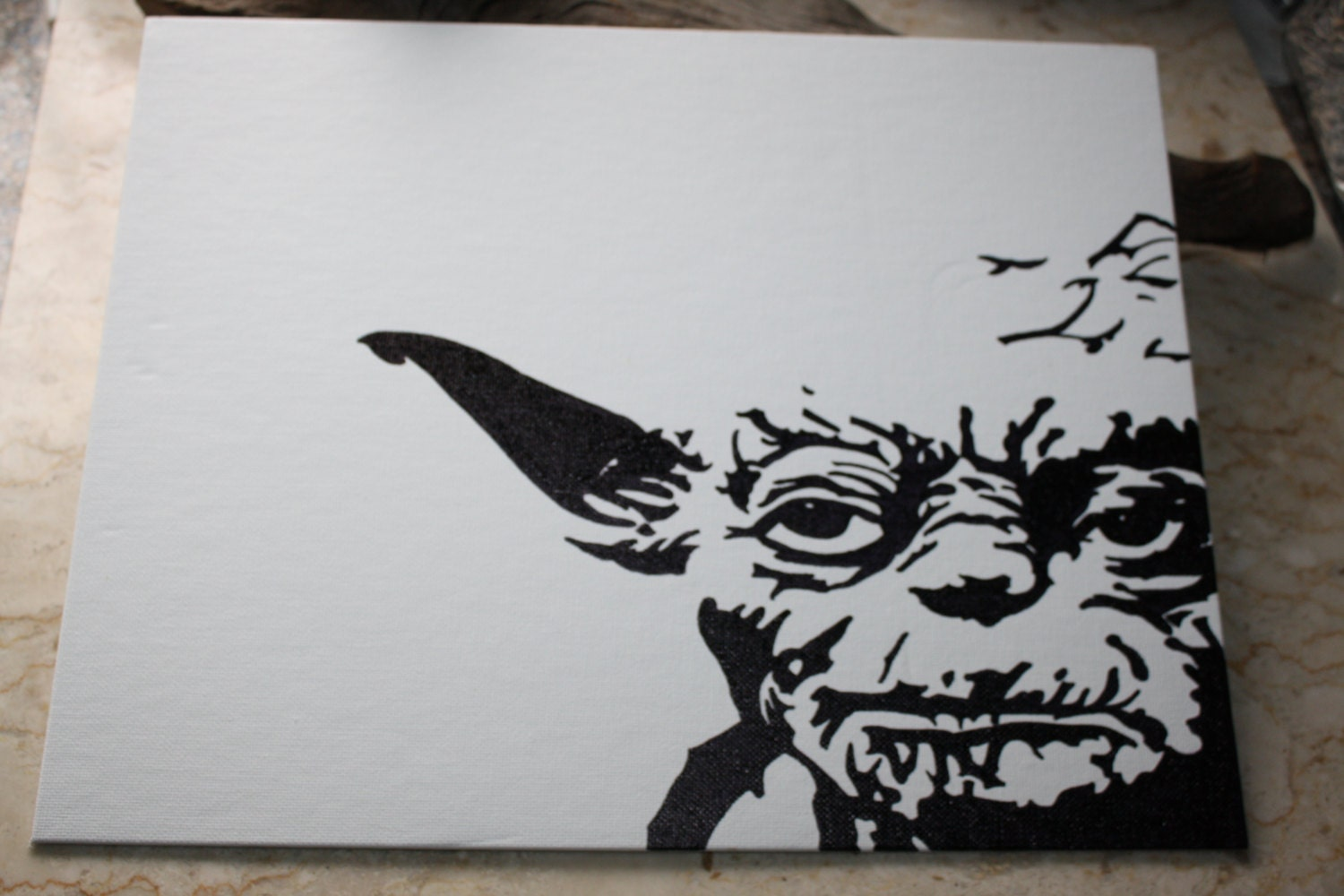 star wars yoda permanent marker drawing on canvas 11 x