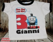 Thomas The Train Birthday Black or Red Ringer T Shirt Personalized -