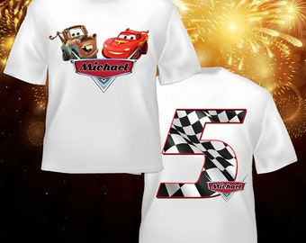 Personalized Cars Birthday Front\Back T Shirt - lightning mcqueen, tow mater, radiator springs, disney, race