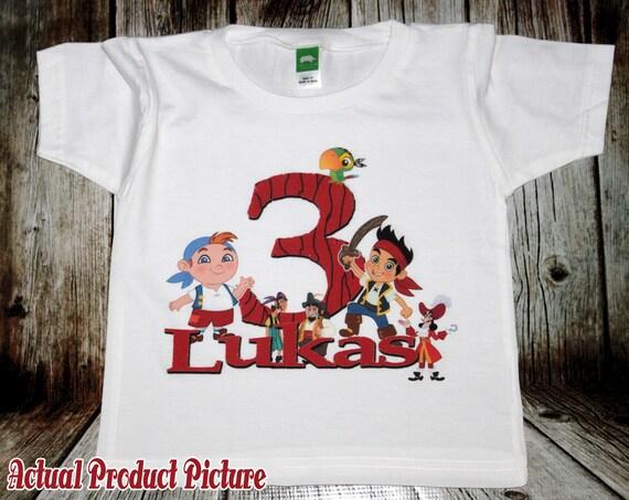 Jake and the Neverland Pirates Birthday T Shirt - Personalized Custom - Izzy, ahoy, matey, captain, jack