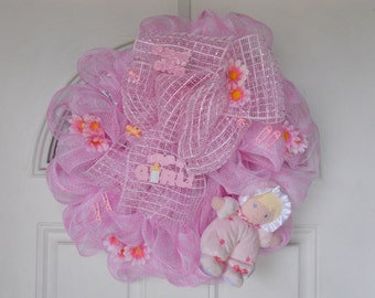 Its A Girl  Wreath, New Baby Wreath, Baby Shower Decor, Nursery Decor, Hospital Door Hanger, Baby Gift, Baby Shower Gift