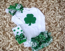 Baby girl St Patricks Day outfit-bodysuit, bow, ruffled diaper cover & matching leg warmers/Girls Green Shamrock outfit/ St Paddys Day