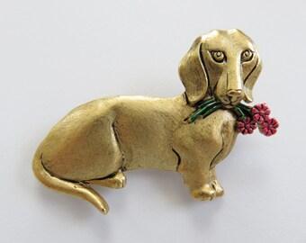JJ Jonette Antique Gold Dachshund Holding Flower in Mouth