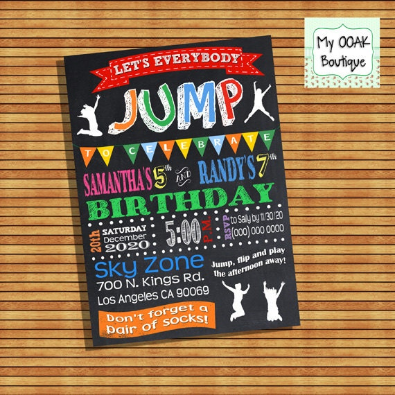 Trampoline Party Invitations: Trampoline Birthday Party Invitation Jump Combined Joint Party