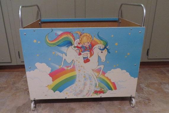 vintage rainbow brite toy box on wheels rare ish by retroplastic. Black Bedroom Furniture Sets. Home Design Ideas
