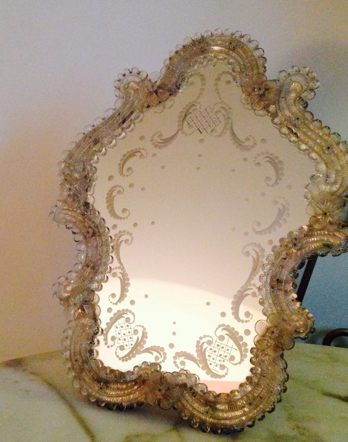 Vintage Large Italian Murano Glass Mirror Venitian Dressing
