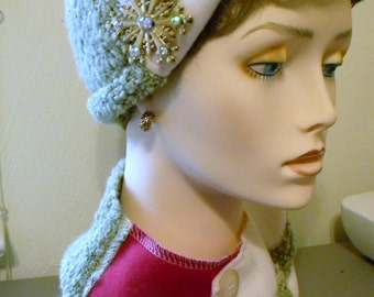 SALE*** Chunky Art-to-Wear Scarf and Wool Blend/Poly Knit Beanie Hat, Ladies Hat and Scarf Set with Beautiful Gold Pin, OSZ, Made in USA