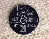 Wedding Save The Date Magnets Rustic Chalkboard Inspired Design Complete With Organza Bags 59mm x 40