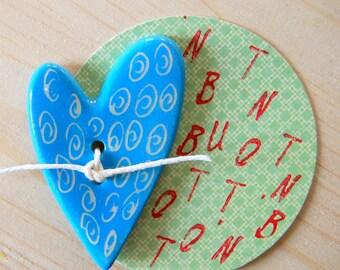 Ceramic button, hand made button, clay button, ceramics button, blue button, blue ceramic button