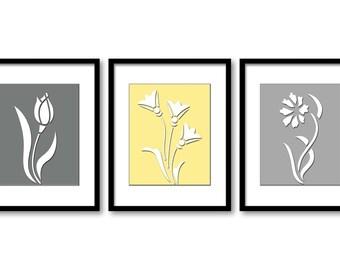 Yellow Grey Grey Flowers Prints Flower Set of 3 Art Print Silhouette Wall Decor Bathroom Bedroom Modern Minimalist