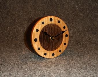 Handmade solid wood clock. Quartz movement. Desk clock, Mantel clock, Table clock or Shelf clock. Exotic wood, Curly Walnut and Curly Maple