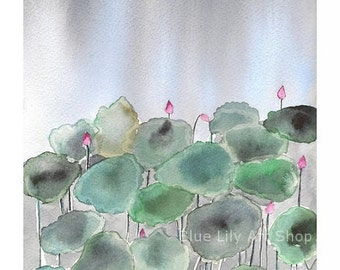Waterlilies in darkness II - Watercolor Print