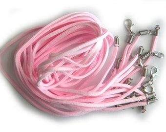 5 Pink Suede Necklaces 3mm Wide