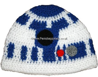 Star Wars Inspired Hand Crocheted R2D2 Hat HH055