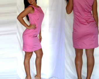 Vintage 90s Pink Career Dress Sleeveless Above the knee