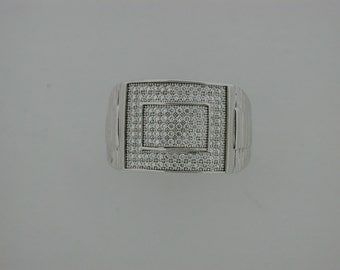 Mens Ring Cubic Zirconia Stone Sterling Silver