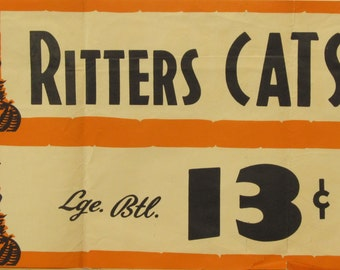 Original Vintage Ritters Catsup Grocery Store Banner Poster