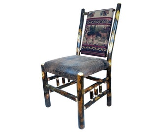 Rustic Hickory Upholstered Dining Chair with Spindle Side -with Buck & Doe Fabric