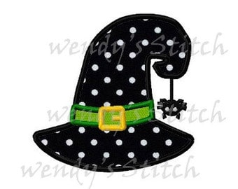 witch hat with spider applique Halloween machine embroidery design