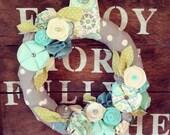 Aqua and mint wreath, year round wreath, everyday wreath, felt flower wreath, fabric wreath