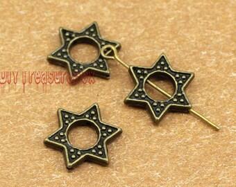25pcs--Star Charms,Star of David pendants antique Bronze 6 pointed star hexagram 16x16mm