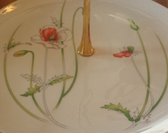 Vintage 'Toscany'  Flower H'ordeuvres platter/ serving tray with handle Made in Japan